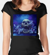Skull and Forget-me-nots Women's Fitted Scoop T-Shirt