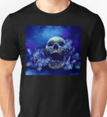 Skull and Forget-me-nots Slim Fit T-Shirt