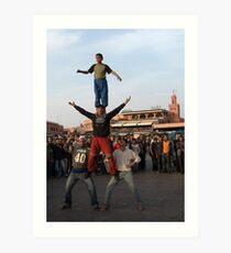 Djemaa el-Fna Acrobats, Marrakech Art Print