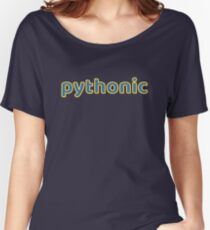 Pythonic - Python Programmer Blue/Yellow Text Design Women's Relaxed Fit T-Shirt