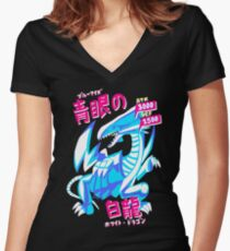 BLUE-EYES WHITE DRAGON (青眼の白龍) Women's Fitted V-Neck T-Shirt