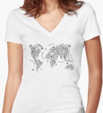 Typography World Map. Women's Fitted V-Neck T-Shirt