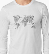 Typography World Map. Long Sleeve T-Shirt