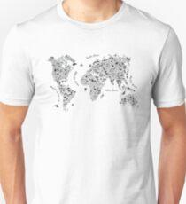 Typography World Map. Unisex T-Shirt