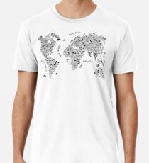 Typography World Map. Männer Premium T-Shirts