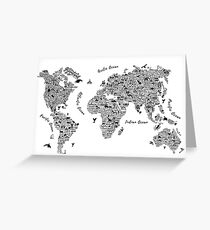 Typography World Map. Grußkarte