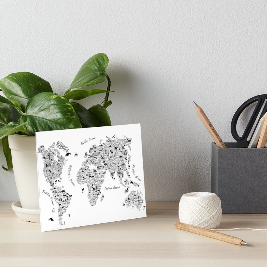 Typography World Map. Lámina rígida