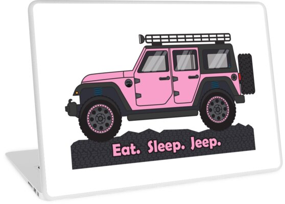 Pink Jeep Wrangler >> Pink Jeep Wrangler Laptop Skins By Bluanchor Redbubble