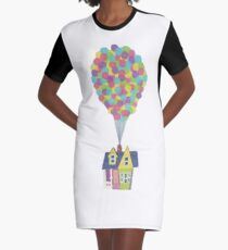 Floating House with a Bunch of Balloons Graphic T-Shirt Dress