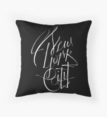 New York City, NY - NYC White on black hand script writing design Throw Pillow