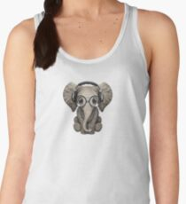 Cute Baby Elephant Dj Wearing Headphones and Glasses Women's Tank Top