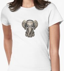 Cute Baby Elephant Dj Wearing Headphones and Glasses Women's Fitted T-Shirt