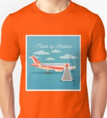 Travel Banner. Tourism Industry. Airplane Travel. Mode of Transportation. Flat Style T-Shirt