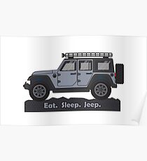 Grey Jeep Wrangler Poster