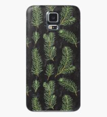 Watercolor pine branches pattern on black background Case/Skin for Samsung Galaxy