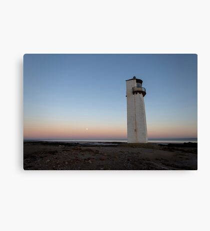 Southerness Lighthouse Moonrise at Sunset Canvas Print