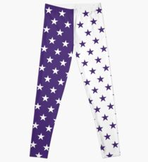 Purple & White Stars Leggings