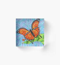 Orange Swirl Butterfly Acrylic Block