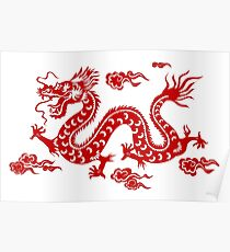 Illustration d'un Dragon Traditionnel Chinois Poster