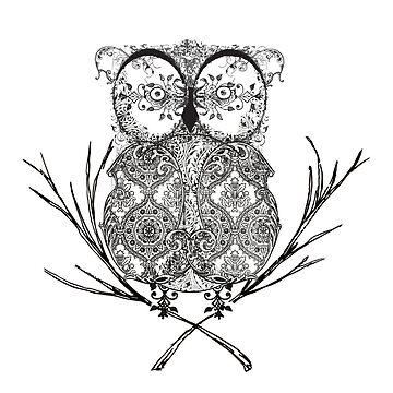 Fancy Flourish Black & White Owl  by wensteve