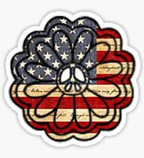American Flag Peace Flower  Sticker