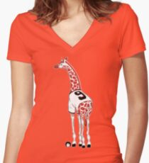 Belt Giraffe (Textless) Women's Fitted V-Neck T-Shirt