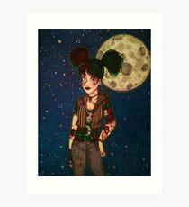 Goth Girl at Night Art Print