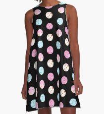 Watercolor dots on black A-Line Dress