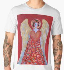 Red Angel of Love Guardian Angel Wings Heart Christmas Gift Decor Design Men's Premium T-Shirt