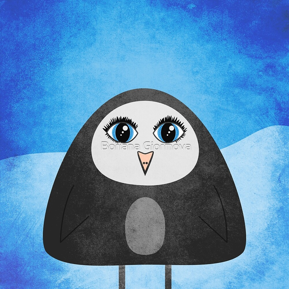 Geometric Cute Cartoon Penguin by Boriana Giormova