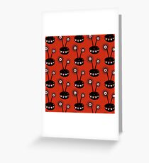 Red Funny Halftone Alien Pattern Greeting Card