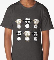 six cute baby sheep in cartoon Long T-Shirt