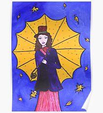 Beautiful girl with umbrella Poster