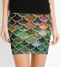 Green Sparkle Faux Glitter Mermaid Scales Mini Skirt