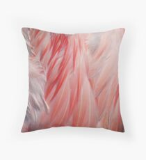 Sleeping Greater Flamingo Coral Pink Wing Feathers Texture Throw Pillow