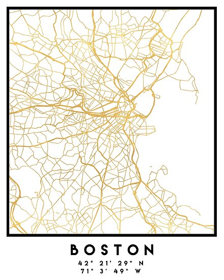 Boston Massachusetts City Street Map Art Posters By Deificusart