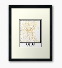 BOSTON MASSACHUSETTS CITY STREET MAP ART Framed Print