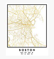 BOSTON MASSACHUSETTS CITY STREET MAP ART Photographic Print