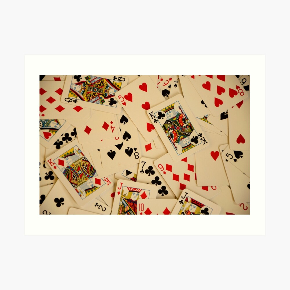 Scattered Pack of Playing Cards Hearts Clubs Diamonds Spades Pattern Art Print