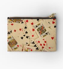 Scattered Pack of Playing Cards Hearts Clubs Diamonds Spades Pattern Zipper Pouch