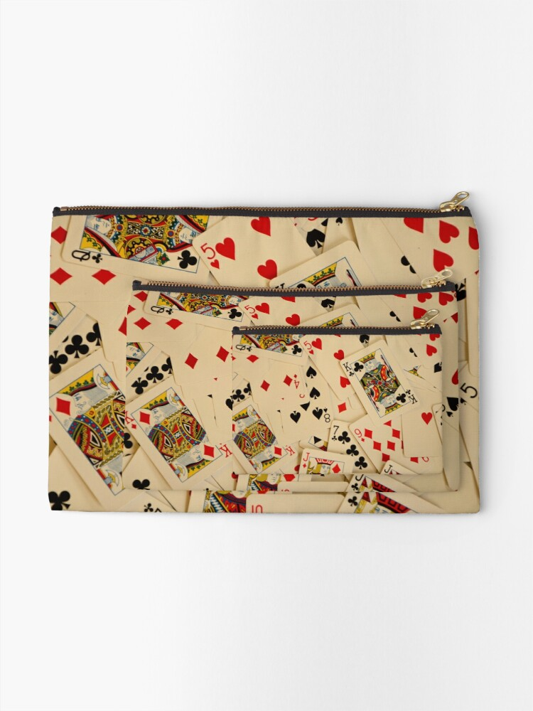 Alternate view of Scattered Pack of Playing Cards Hearts Clubs Diamonds Spades Pattern Zipper Pouch