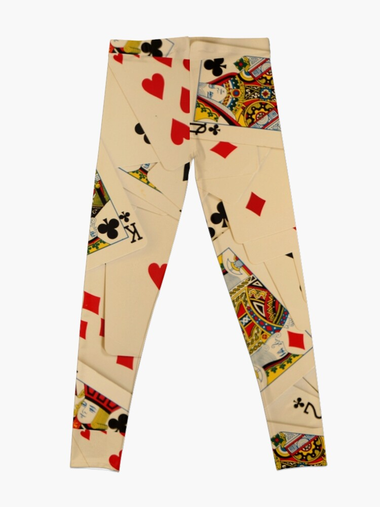 Alternate view of Scattered Pack of Playing Cards Hearts Clubs Diamonds Spades Pattern Leggings