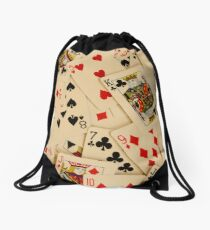 Scattered Pack of Playing Cards Hearts Clubs Diamonds Spades Pattern Drawstring Bag