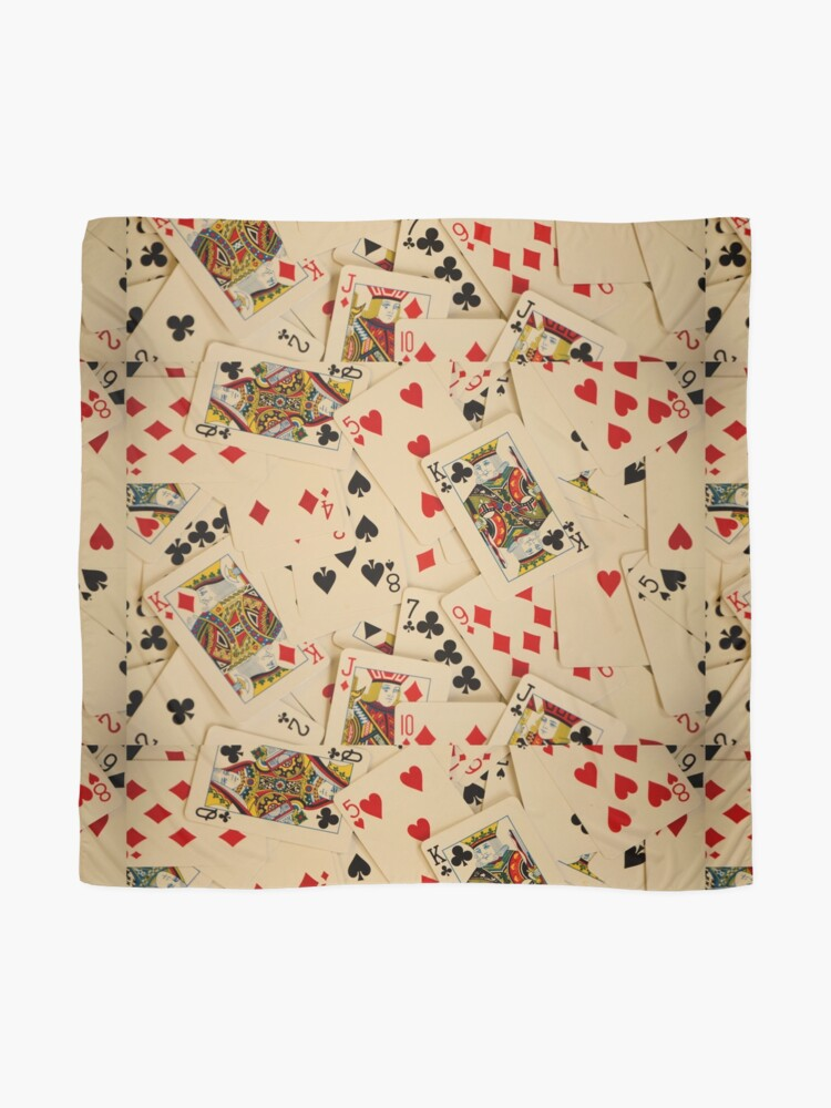 Alternate view of Scattered Pack of Playing Cards Hearts Clubs Diamonds Spades Pattern Scarf