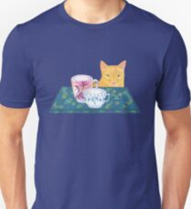 still life with cat and coffeecups T-Shirt