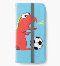 Blue Funny Cartoon Dinosaur Soccer iPhone Wallet/Case/Skin