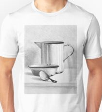 Still life drawing illustration of bowl, kettle and spoon T-Shirt