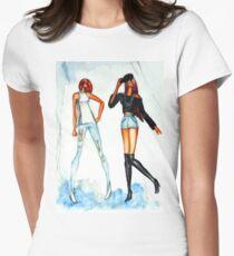 Fashion sketch of beautiful girls wearing jeans  Women's Fitted T-Shirt