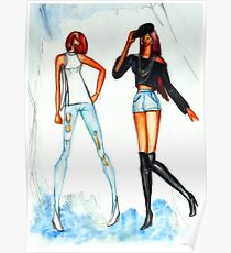 Fashion sketch of beautiful girls wearing jeans  Poster
