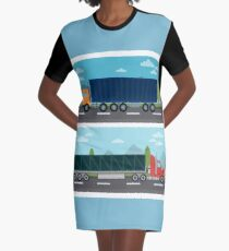 Cargo Transportation. Truck and Trailer. Delivery Trucks. Logistics Transportation. Mode of Transportation. Cargo Truck. Flat style Graphic T-Shirt Dress